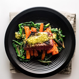 Steak & Dandelion Greens with Sweet Carrots and Chimichurri