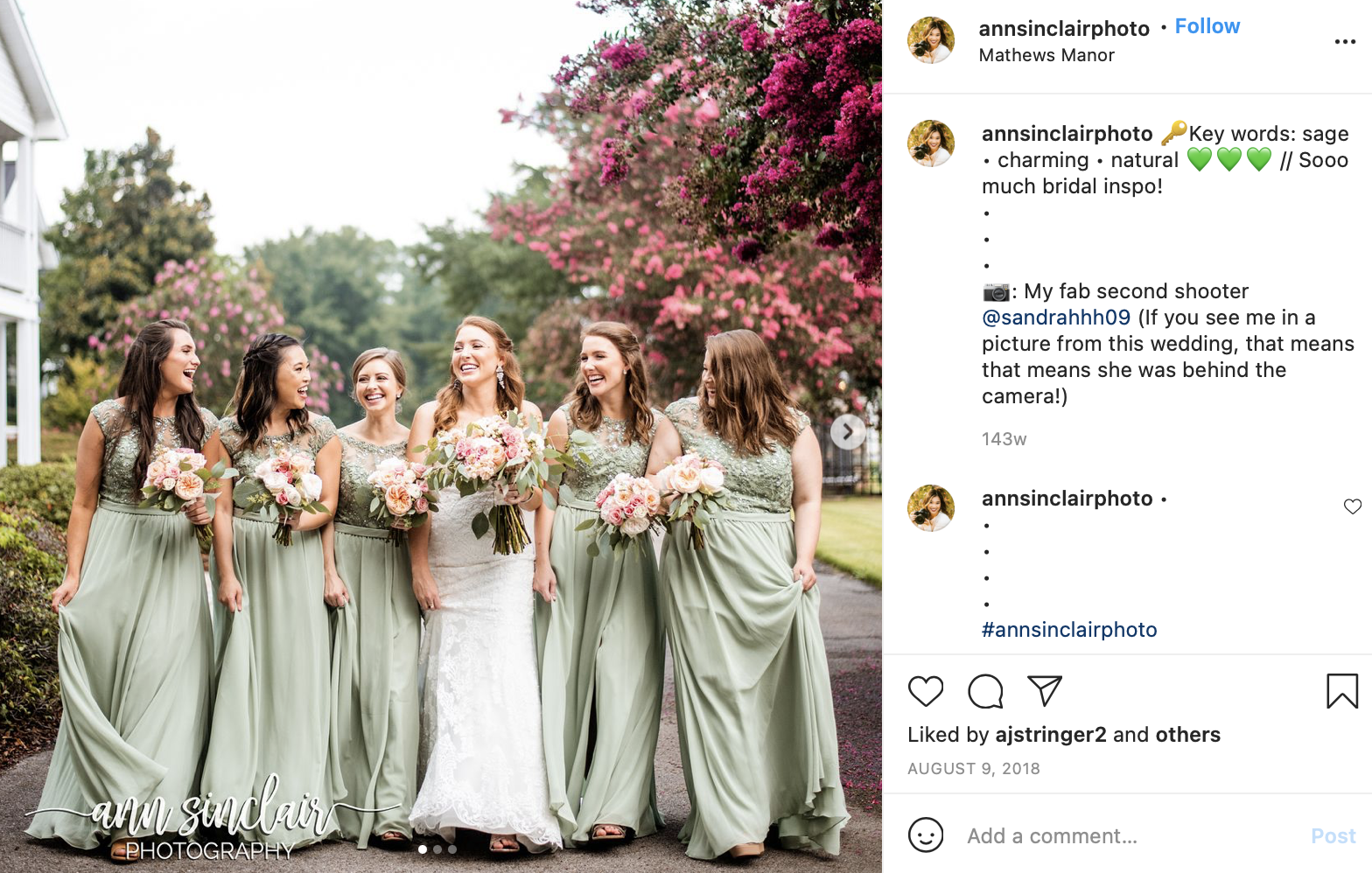 sage and magenta bridesmaid dresses and florals