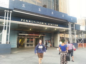 """Photo: We made it to Penn Station. Walked around the block and then went back in for our train to Philadlelphia. After that it was too dark for any more photos. Note the """"Post No Bills"""" signs across the top of the scaffolding. Really? As busy a place as this station is... is anyone going to try?"""