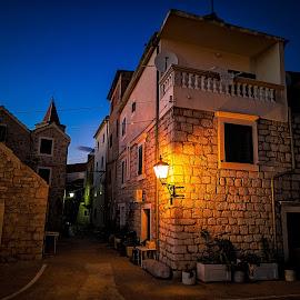 Stara riva street 2 by Branko Meic-Sidic - Buildings & Architecture Homes ( croatia, nighttime, streetlamp, pirovac, oldstreet, hdr, stonehouses, oldtown )