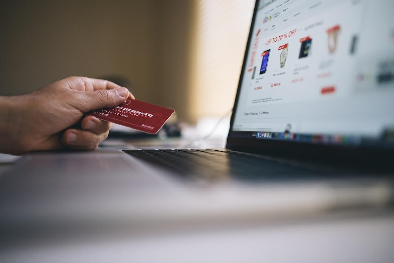 Laptop and credit card.