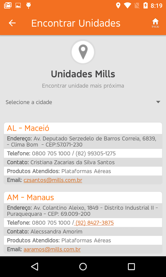 Mills App- screenshot