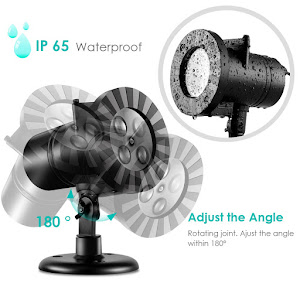 Proiector LED interior/exterior cu 4 diapozitive interschimbabile