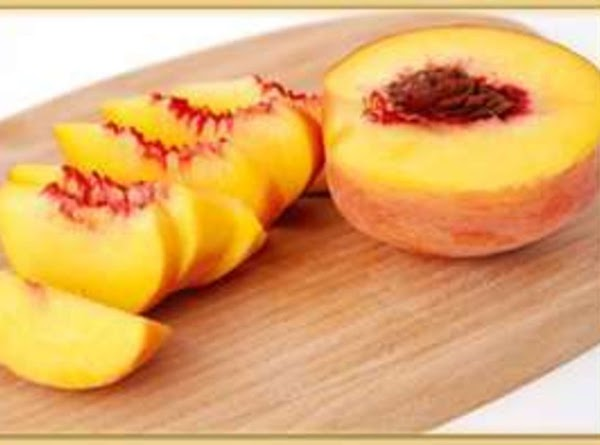 Peel and Cut Peaches in fourths.( total 16 Pcs) Place one Slice of the Peach...