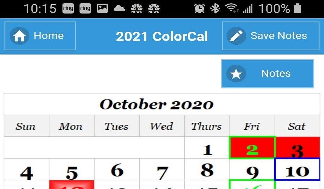 Usps Color Coded Calendar 2021 | 2022 Calendar