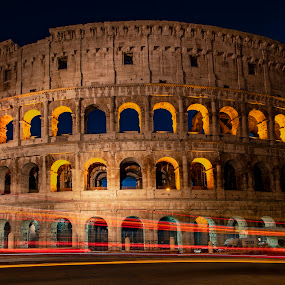 The Colosseum by Santanu Majumder - Buildings & Architecture Statues & Monuments ( colosseum, roman, night, trails, italy )