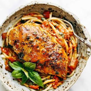 Garlic Basil Chicken with Tomato Butter Sauce.