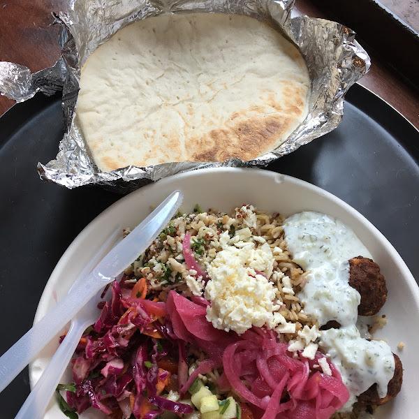 Falafel Rice plate and gluten free pita!