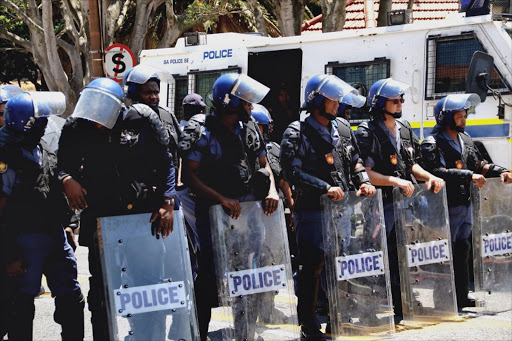 Members of the South African Police Service in riot gear Picture Credit: Anthony Molyneaux, TMG Multimedia