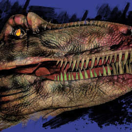 Tyrannosaurs Rex by Dave Walters - Digital Art Abstract ( lumix fz2500, abstract, tyrannosaurs rex, dinosaures, colors, digital art )