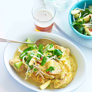 Turmeric And Coconut Chicken With Sweet And Sour Vegetables.