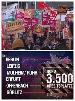 2 Bilder aus Video: Demofoto aus Leipzig und Standortgrafik.