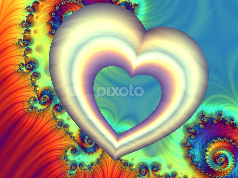 Heart 2 by Cassy 67 - Illustration Abstract & Patterns ( hearts, heart, valentines, swirl, wallpaper, spiral, digital, valentine´s day, love, digital art, harmony, fractal, light, fractals )
