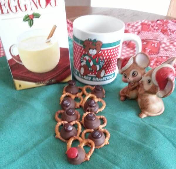 Have A Cup Of Eggnog With Some Reindeer Pretzels.  Yum!
