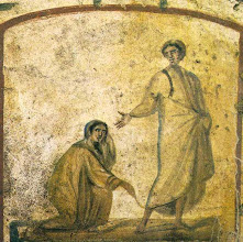 Photo: Title: Untitled (The Bleeding Woman) Artist: Unknown Medium: Fresco Date: 4th Century AD Location: Catacombs of Marcellinus and Peter, Rome, Italy. http://iconsandimagery.blogspot.com/2009/06/bleeding-woman.html