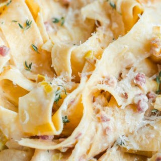 Creamy Leek and Pancetta Pappardelle for Two Recipe