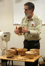 "Photo: Design is a very important topic for Joe.  He presented some different shapes and asked for audience participation to show how the bowls with more ""lift"" off the table are preferred."