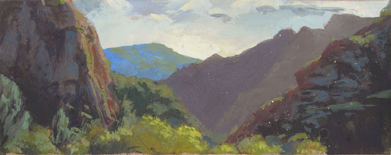 "Photo: Malibu Creek Park 8 1/4"" x 3 1/4"" watercolor and gouache"