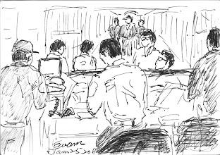 Photo: 中央台2011.01.25鋼筆 雖然勤務中心這個主題早就畫過了,但因不知今天勤務會派哪裡,是否有時間畫畫,我還是把它畫了下來,畫完後翻開之前那張,畫風是有些不同了。
