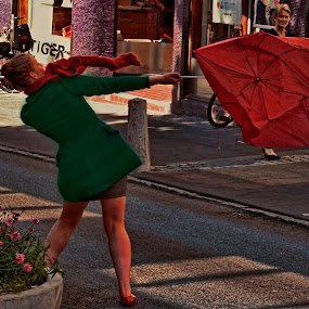 Blowing away. by Konrad Ragnarsson - People Street & Candids ( wind, iceland, konni27, reykjavik, street, umbrella, women )