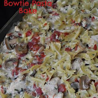 Spicy Chicken Bowtie Pasta Bake.