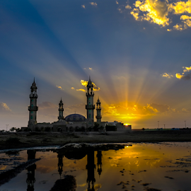 MOSQUE IN QUAIIYAH by Angelito Cortez - Buildings & Architecture Places of Worship ( mosque, reflection, sunset )