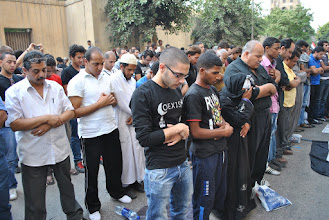 Photo: A Muslim prayer was held upon arrival at the Abbasia Cathedral.