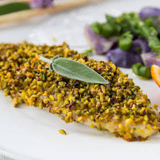 Pistachio Crusted Baked White Fish Fillet.