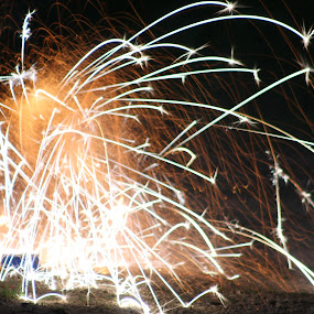 Coming At You by Scott Valenzuela - Abstract Fire & Fireworks ( abstract, colors, fireworks, night, sparks )