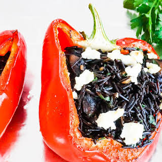 Wild Rice & Portobello Stuffed Peppers with Goat Cheese.