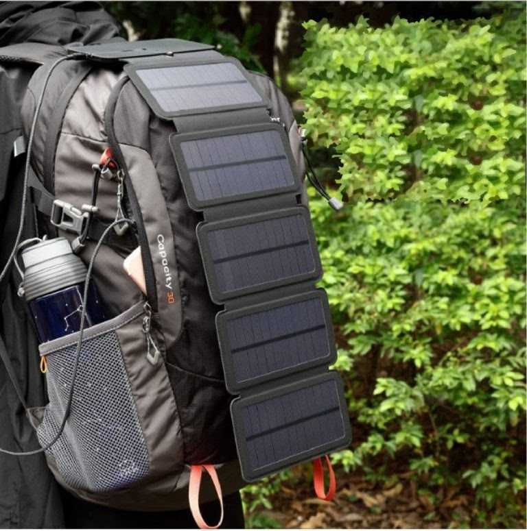 20W 5-Piece Portable Solar Battery Charger With USB Output