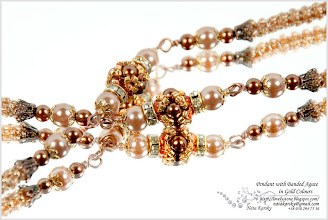 Photo: Pendant with Banded Agate in Gold Colours - Смугастий агат в золотих кольорах