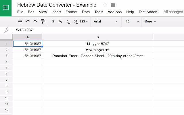 Hebrew Date Converter - Google Sheets add-on