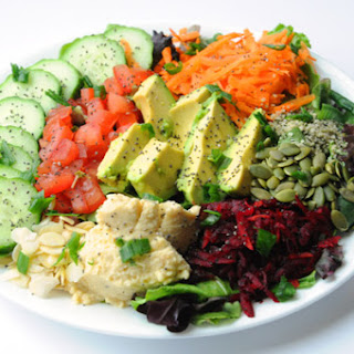 The Big Vegan Salad Plate with Tahini-Dill Dressing.