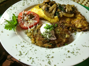 """Photo: Perennial  Favourite - Ham and Three Cheese Omelette with """"Steak Mushrooms"""" and Potato Latke"""