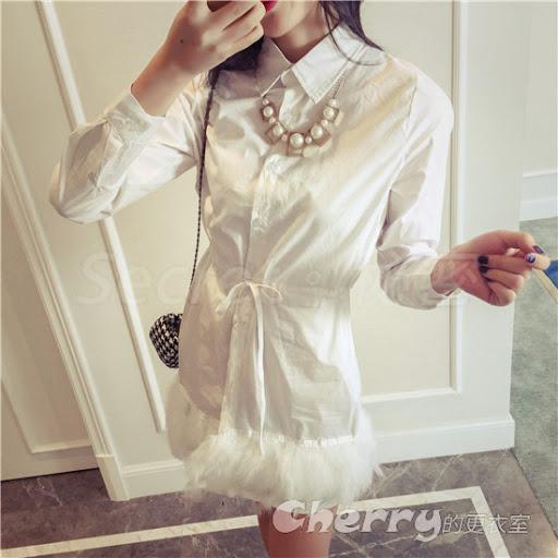 甜美公主風單排扣立體羽毛邊剪裁襯衫連身裙