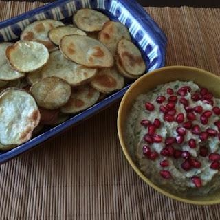 Eggplant Dip with Cumin Potato Chips