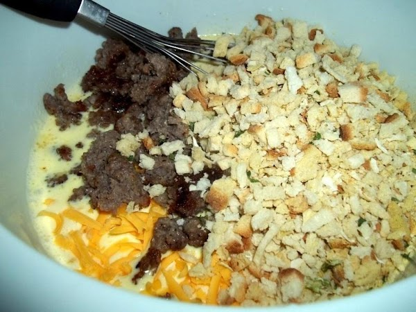 Whisk eggs, milk, cream, salt and pepper. Stir in  1 1/4 cup cheese,...