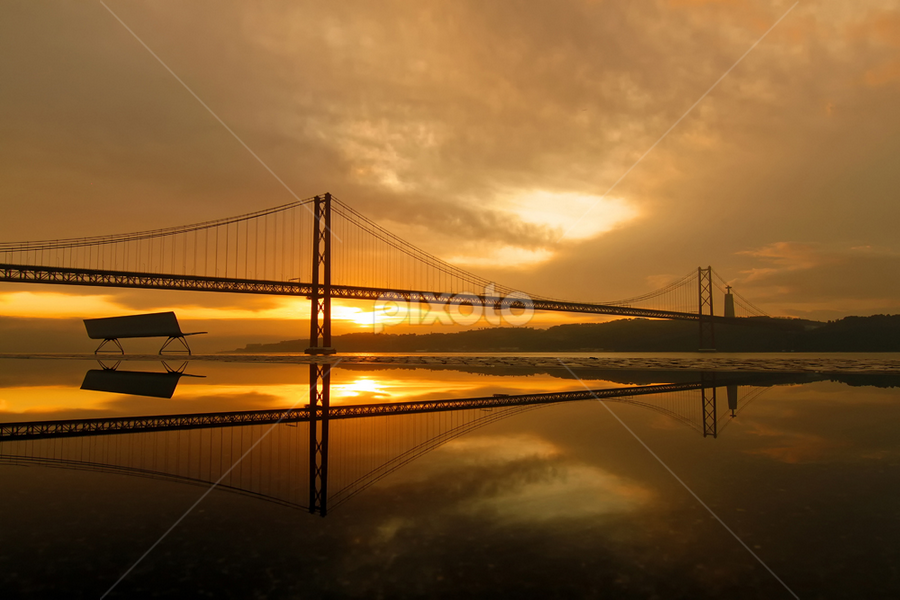 Morning Reflections by Nuno Martins - Buildings & Architecture Bridges & Suspended Structures ( bench, relections, 25 de abril, sunrise, morning, pwcbridges )