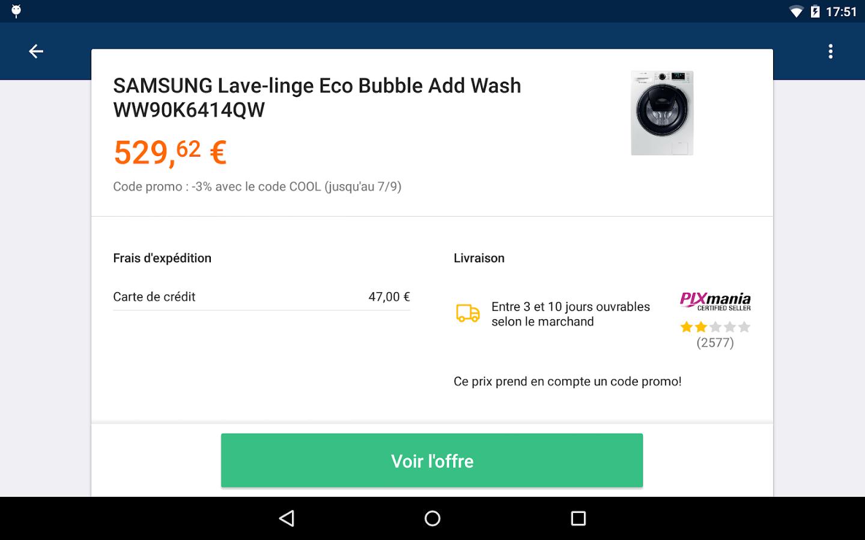 Comparateur de prix applications android sur - Comparateur de prix refrigerateur ...
