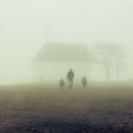 Foggy Chapel by Anne-Cecile Pflieger - People Family ( foggy, chapel, family, landscape, fog )
