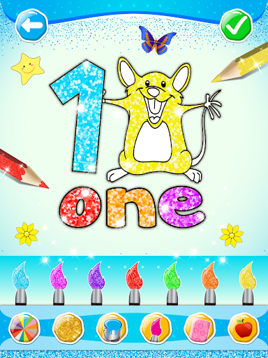 Glitter Number and letters coloring Book for kids screenshot 10