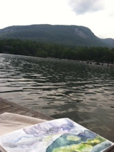Photo: May, 20120-Painting of Bald Mountain in the foreground of Bald Mountain-Watercolor-Lake Lure, NC