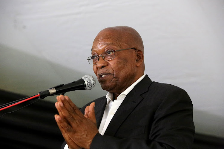 Former president Jacob Zuma at his 'welcome home prayer' in Nkandla.