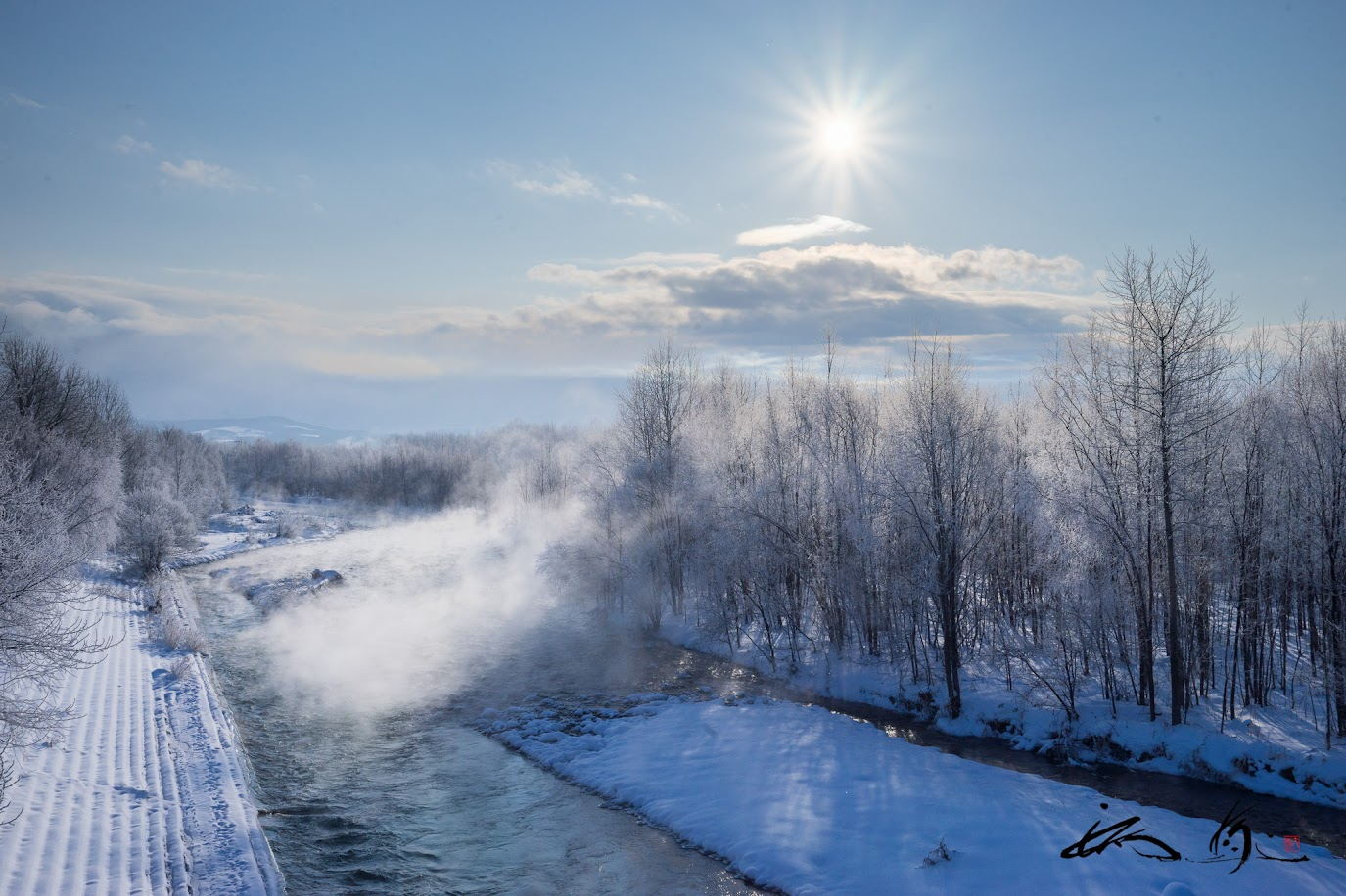 湧き上がる川霧