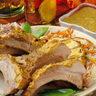 Latin Pork Back Ribs with Smoky Pineapple-Mango Sauce.