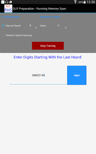 DLR Test - Running Memory Span
