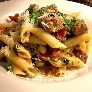 Kicked Up Penne with Spicy Sausage and Tomato Cream Sauce