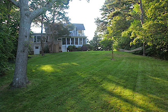 Photo: East lawn looking toward Quawk Cottage from the bank.