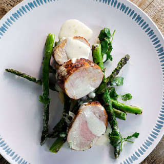 Curtis Stone's Spice-Rubbed Pork Tenderloin with White Barbecue Sauce and Grilled Asparagus